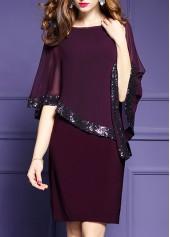 Split Sleeve Round Neck Sequin Embellished Mini Dress