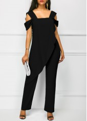 wholesale Black Open Back Overlay Wide Strap Jumpsuit