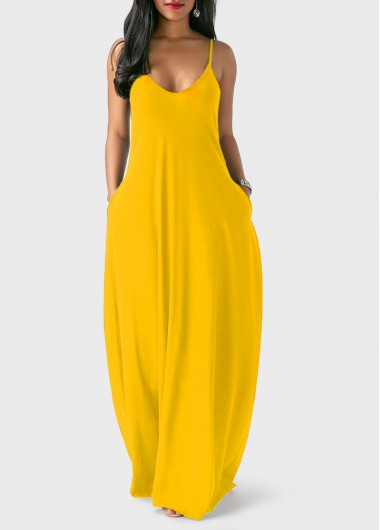 Open Back Spaghetti Strap Ginger Maxi DressMaxi Dresses<br><br><br>color: Yellow<br>size: S,M,L,XL,XXL