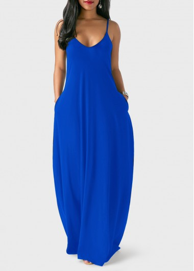 Pocket-Decorated-Royal-Blue-Maxi-Dress