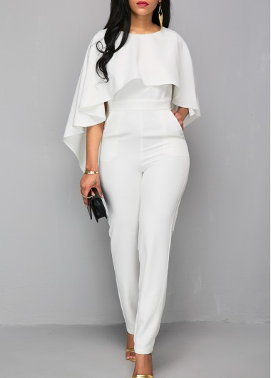Zipper Closure White Open Back Jumpsuit