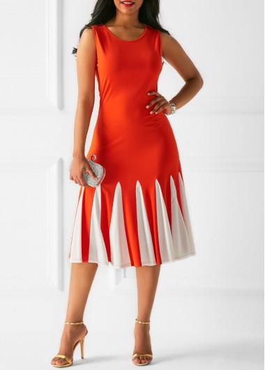 Printed Zipper Back Orange Sleeveless Dress