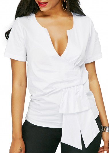 V Neck Long Sleeve White Ruched BlouseBlouses &amp; Shirts<br><br><br>color: White<br>size: M,L,XL,XXL