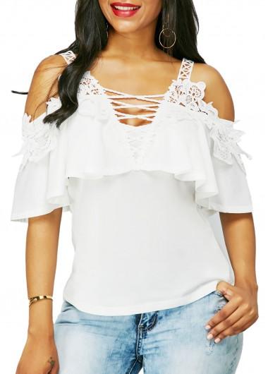Off the Shoulder Cross Front White BlouseBlouses &amp; Shirts<br><br><br>color: White<br>size: M,L,XL,XXL