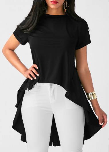 Round Neck Pleated Patchwork High Low BlouseBlouses &amp; Shirts<br><br><br>color: Black<br>size: S,M,L,XL,XXL