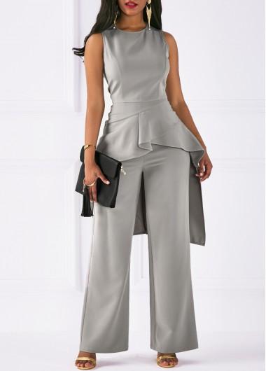 Sleeveless Asymmetric Hem Top and Grey Pants