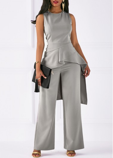 Sleeveless asymmetric hem top and grey pants