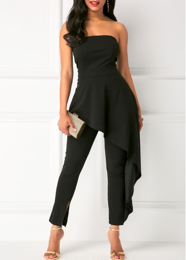 High Waist Ruffle Overlay Strapless Black Jumpsuit