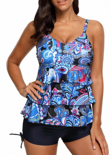 V Neck Printed Layered Blue Tankini SetSwimwear<br><br><br>color: Blue<br>size: S,M,L,XL,XXL