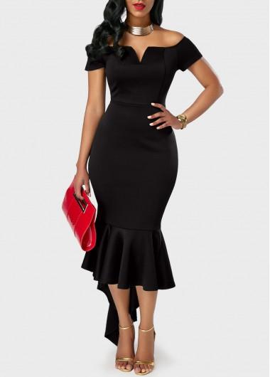 Short Sleeve High Waist Flounce Mermaid DressBodycon Dresses<br><br><br>color: Black<br>size: M,L,XL,XXL