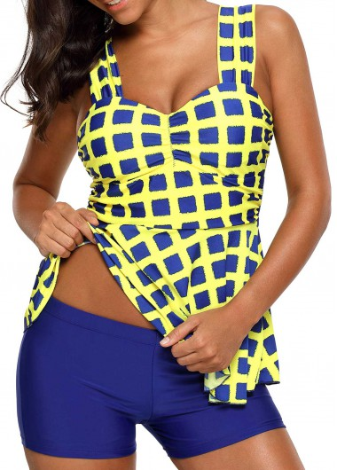 Plaid Print Wide Strap Padded Tankini SetSwimwear<br><br><br>color: Yellow<br>size: S,M,L,XL,XXL