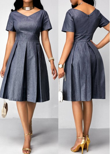 Short Sleeve Band Waist Pleated DressSummer Dresses<br><br><br>color: Navy blue<br>size: S,M,L,XL,XXL