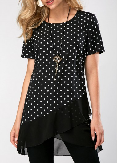Asymmetric Hem Polka Dot Print Short Sleeve Blouse