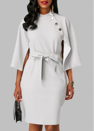 Mock Neck Cape Sleeve Pocket DressBodycon Dresses<br><br><br>color: White<br>size: S,M,L,XL,XXL