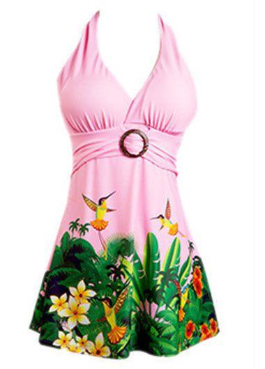 Printed Halter Neck Pink Swimdress and Shorts
