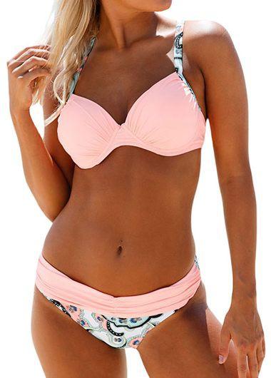 Cross Back Pink Patchwork Bikini Set
