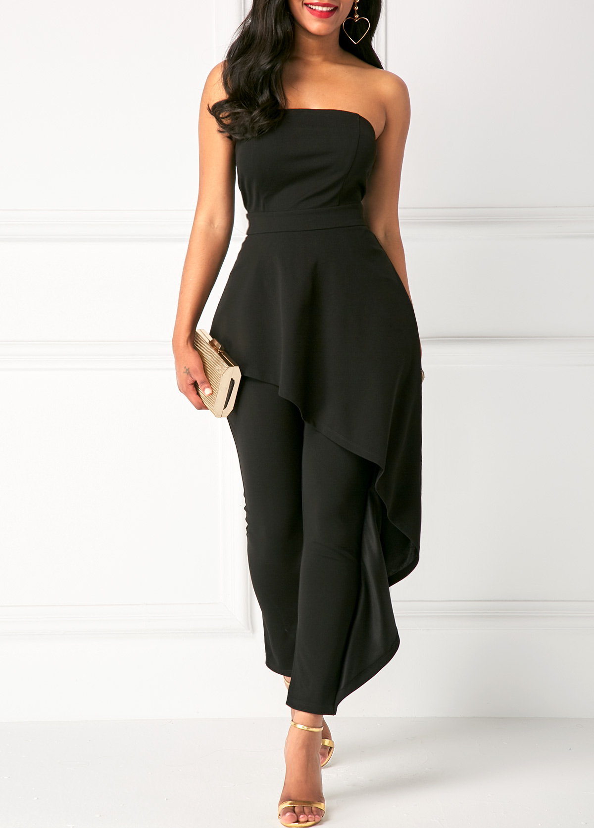 317cb93668ba High Waist Ruffle Overlay Strapless Black Jumpsuit. AddThis Sharing  Buttons. Share to Facebook Share to Pinterest