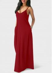 wholesale Pocket Design Wine Red Maxi Dress