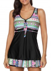 Printed Open Back Padded Swimdress and Shorts