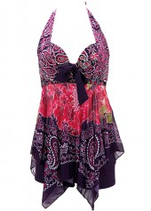 Asymmetric-Hem-Halter-Neck-Printed-Swimdress-and-Shorts