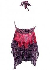 wholesale Asymmetric Hem Halter Neck Printed Swimdress and Shorts
