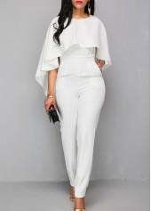 wholesale Zipper Closure White Open Back Jumpsuit