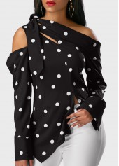 Cold Shoulder Polka Dot Print Black Blouse