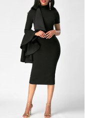 Flare Sleeve High Neck Flouncing Black Skinny Dress