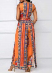 wholesale Dashiki Print Overlay Embellished V Neck Orange Jumpsuit