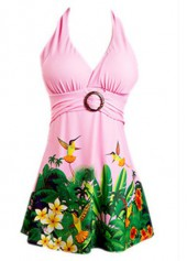 Printed-Halter-Neck-Pink-Swimdress-and-Shorts
