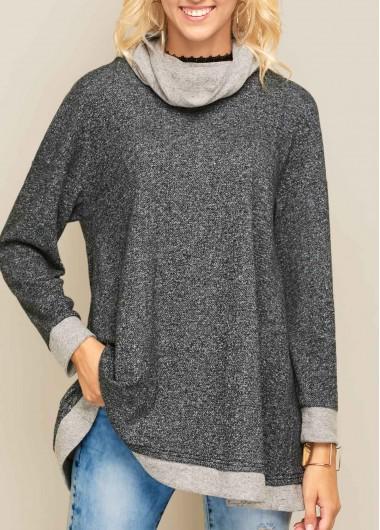 Patchwork-Long-Sleeve-Asymmetric-Hem-Sweatshirt