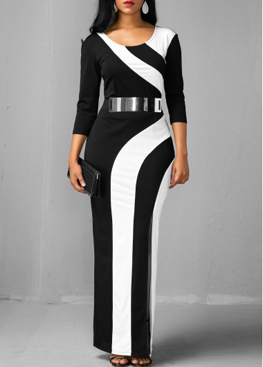 Color Block Side Slit Three Quarter Sleeve Dress