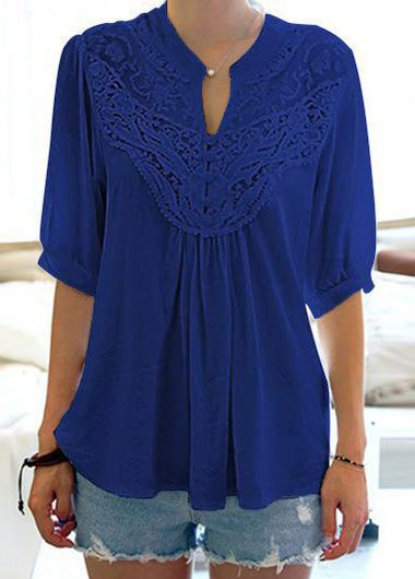 Split Neck Lace Panel Navy Blue Blouse