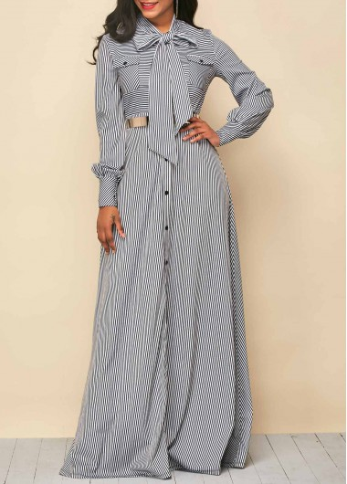Button Up Tie Neck Stripe Print Maxi Dress