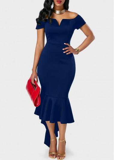 Navy Blue Off the Shoulder Peplum Hem DressBodycon Dresses<br><br><br>color: Navy blue<br>size: M,L,XL,XXL