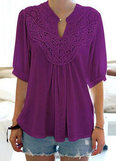 Split Neck Half Sleeve Purple Blouse