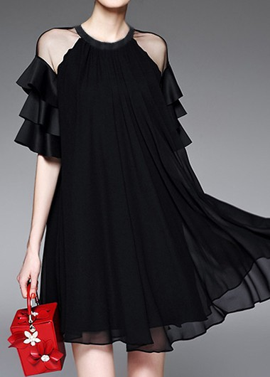 Layered Bell Sleeve Mesh Patchwork Black Dress