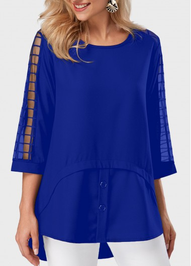 Asymmetric Hem Royal Blue Mesh Panel Blouse