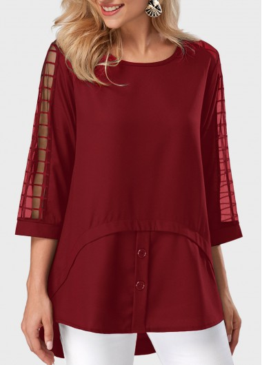Asymmetric Hem Round Neck Mesh Panel Burgundy Blouse