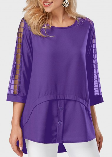 Mesh Panel Asymmetric Hem Round Neck Purple Blouse