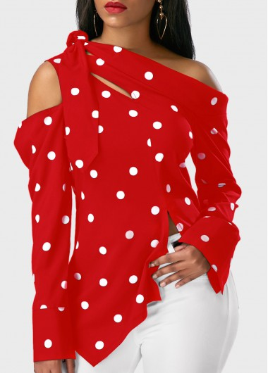 Asymmetric Hem Polka Dot Print Long Sleeve Red Blouse