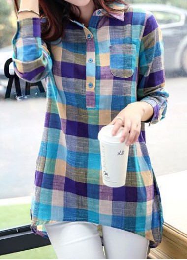 Turndown Collar Plaid Print Asymmetric Hem Blouse