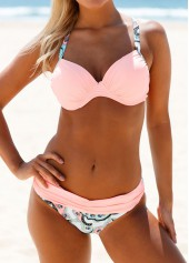 wholesale Cross Back Pink Patchwork Bikini Set
