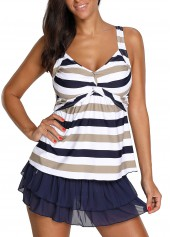 Twist Front Striped Navy Blue Tankini Top and Pantskirt