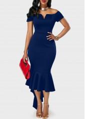 Navy-Blue-Off-the-Shoulder-Peplum-Hem-Dress