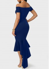 wholesale Navy Blue Off the Shoulder Peplum Hem Dress