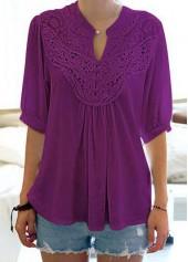 wholesale Split Neck Half Sleeve Purple Blouse