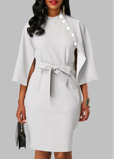 Mock Neck Cape Sleeve Pocket Dress
