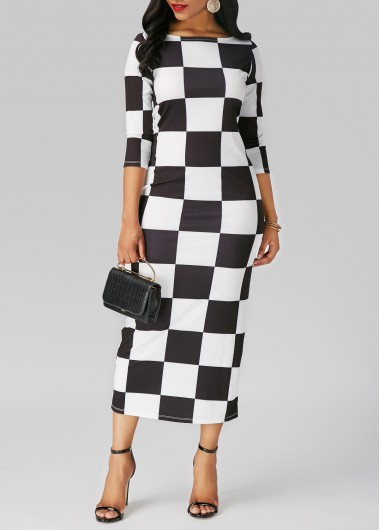 Three Quarter Sleeve Plaid Print Midi Dress