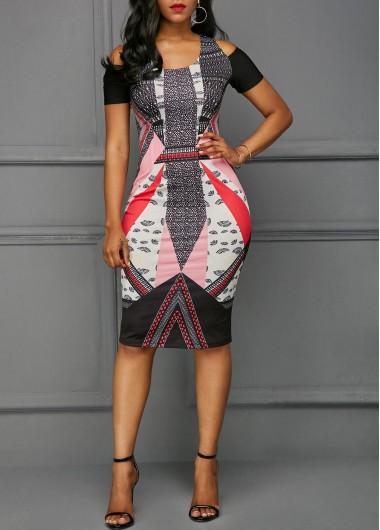 Cold Shoulder Cutout Back Printed Dress